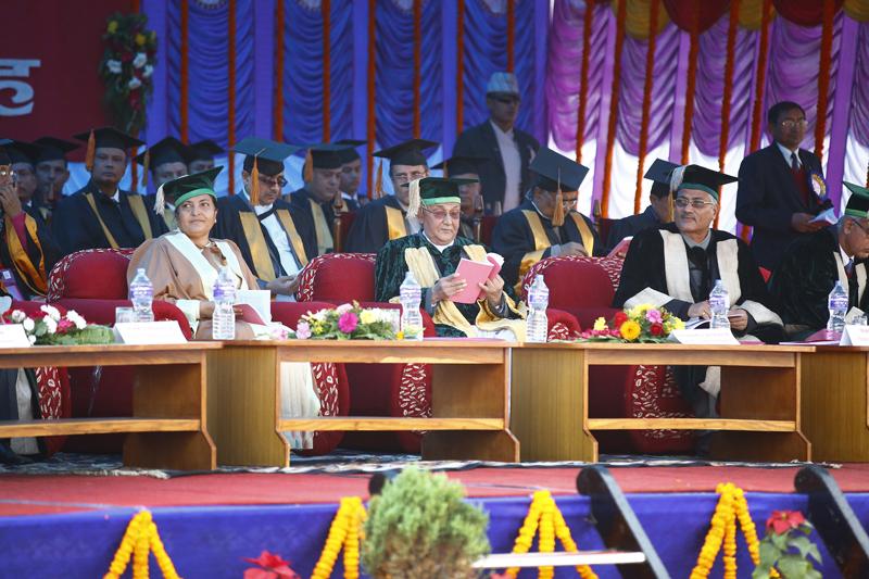 President Bidya Devi Bhandari (left) with Prime Minister KP Sharma Oli (centre) take part in the 41st convocation ceremony of Tribhuvan University at Dasharath stadium, Tripureshwor, Kathmandu on Wednesday, October 2, 2015. Photo: Skanda Gautam