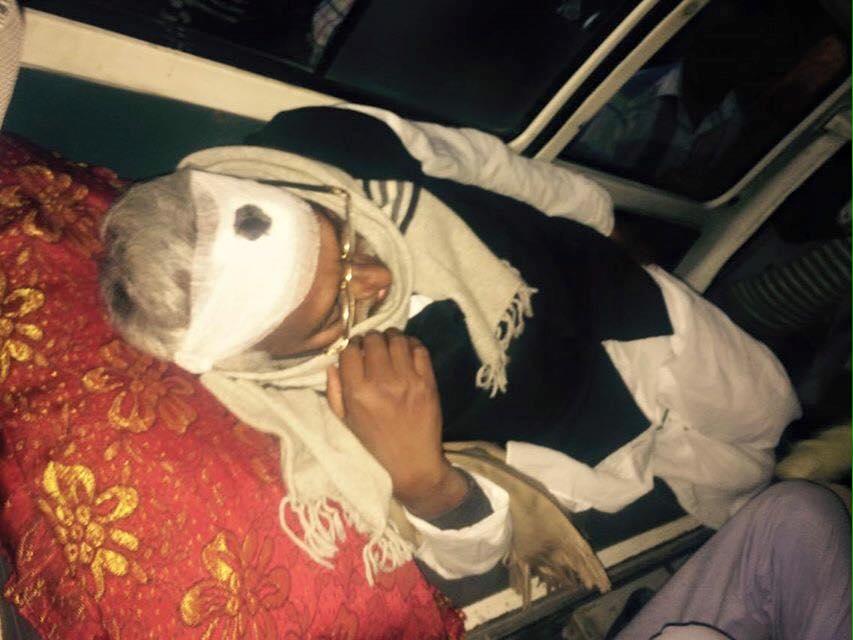 Leader Rajendra Mahato being taken to a hospital in Biratnagar on an ambulance. Photo Courtesy: Upendra Mahato