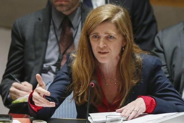 United States Ambassador to the United Nations Samantha Power addresses members of the UN Security Council during a meeting about Ukraine situation, at the UN headquarters in New York, March 6, 2015. Photo: REUTERS
