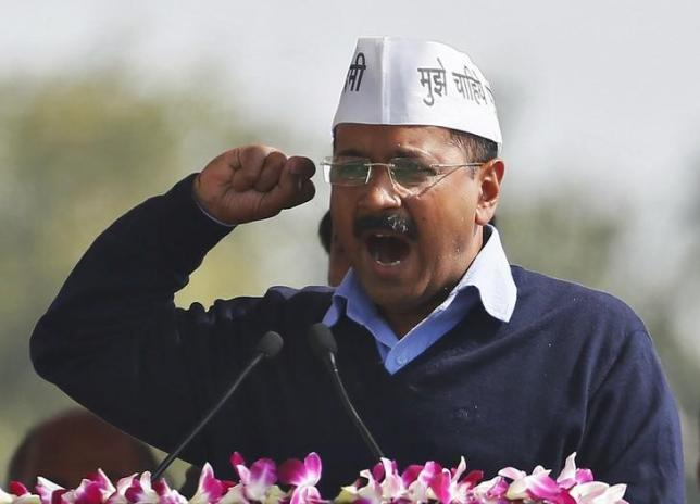 Arvind Kejriwal, chief of Aam Aadmi (Common Man) Party (AAP), addresses his supporters after taking the oath as the new chief minister of Delhi during a swearing-in ceremony at Ramlila ground in New Delhi February 14, 2015. Photo: REUTERS