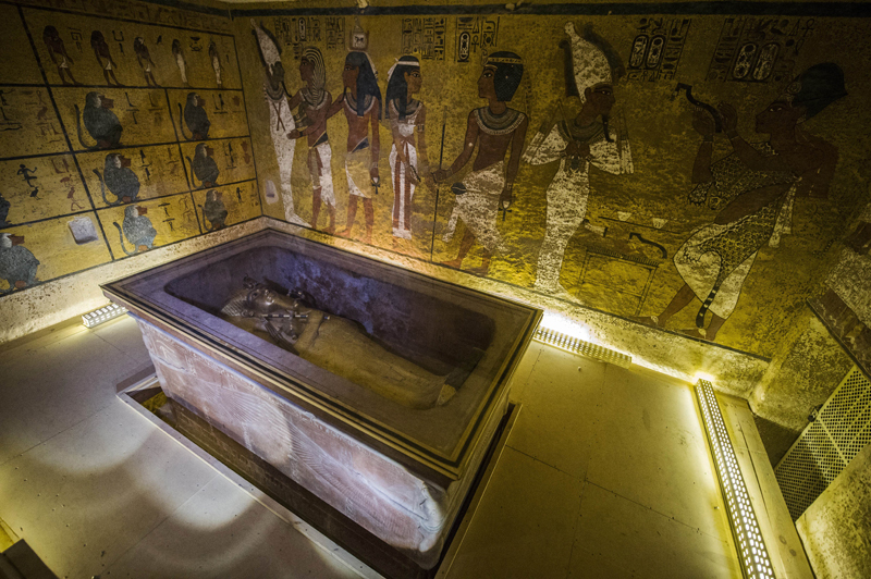 A picture taken on November 28, 2015 shows the sarcophagus of King Tutankhamun displayed in his burial chamber in the Valley of the Kings, close to Luxor, 500 kms south of the Egyptian capital, Cairo. Photo: AFP