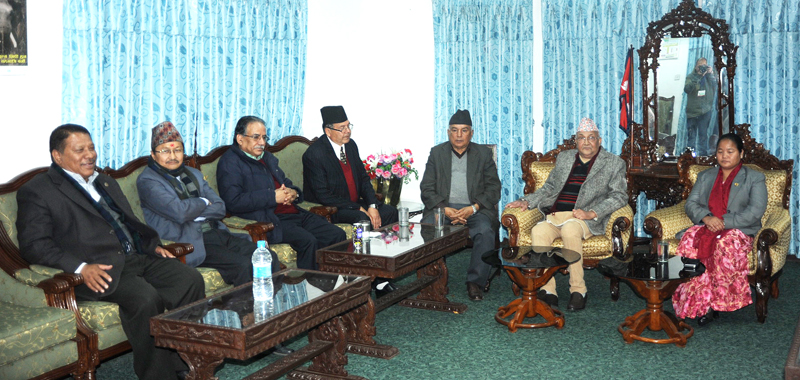 Speaker Onsari Gharti Magar (right) holds a meeting with top leaders of major parties, in Kathmandu, on Monday, December 14, 2015. Photo: Speaker's Secretariat