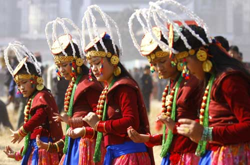 Tamu (Gurung) girls performing their traditional dance on the final day of the three-day Lhosar festival in Tundikhel on Thursdayu201a December 30u201a 2010.  Photo: THT/File