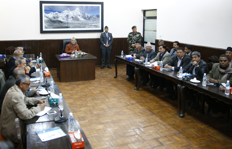 Leaders of the ruling coalition, the main opposition Nepali Congress and the agitating United Democratic Madhesi Front, hold talks in a bid to end the ongoing political tension, in Kathmandu, on Saturday, December 5, 2015. Photo: Skanda Gautam
