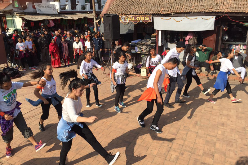 Participants performing a dance to mark the end of the 16-day programme against gender-based violence at the premises of Patan Durbar Square on Thursday, December 10, 2015. Courtesy: UNDP Nepalu2019s twitter page