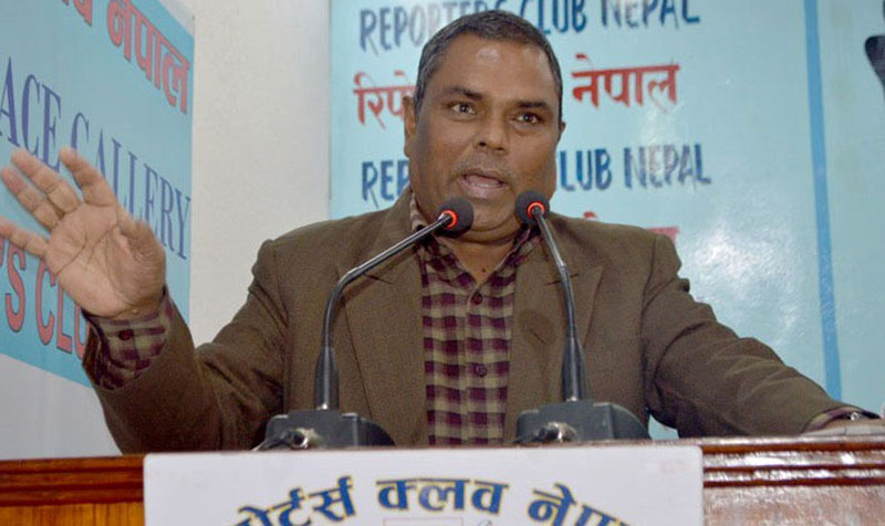 Federal Socialist Forum-Nepal Chairman Upendra Yadav speaks at an interaction at the Reporters' Club in Kathmandu, on Sunday, December 20, 2015. Photo: Reporters' Club