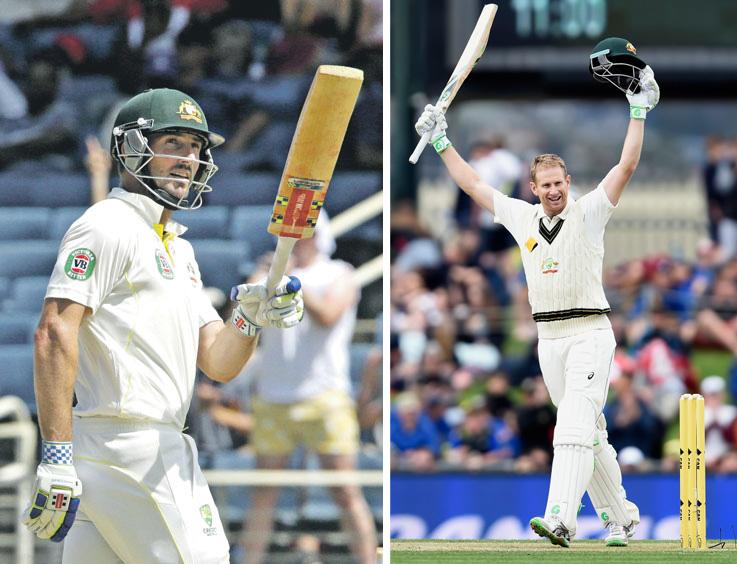 Australian batsman Shaun Marsh (left) and Adam Voges acknowledge crowds after reaching ton. Photo: Reuters