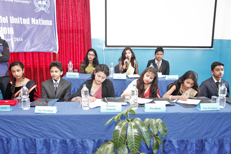 Students of Kanjirowa National Higher Secondary School holding a Model United Nations General Assembly, in Kathmandu, on Thursday, January 14, 2016. Photo: THT