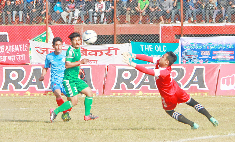 Sahara Club goalkeeper dives to stop the ball during their 14th Aha-Raha Gold Cup match against United Sikkim Football Club in Pokhara on Saturday. Sahara won the match 2-0. Photo: THT