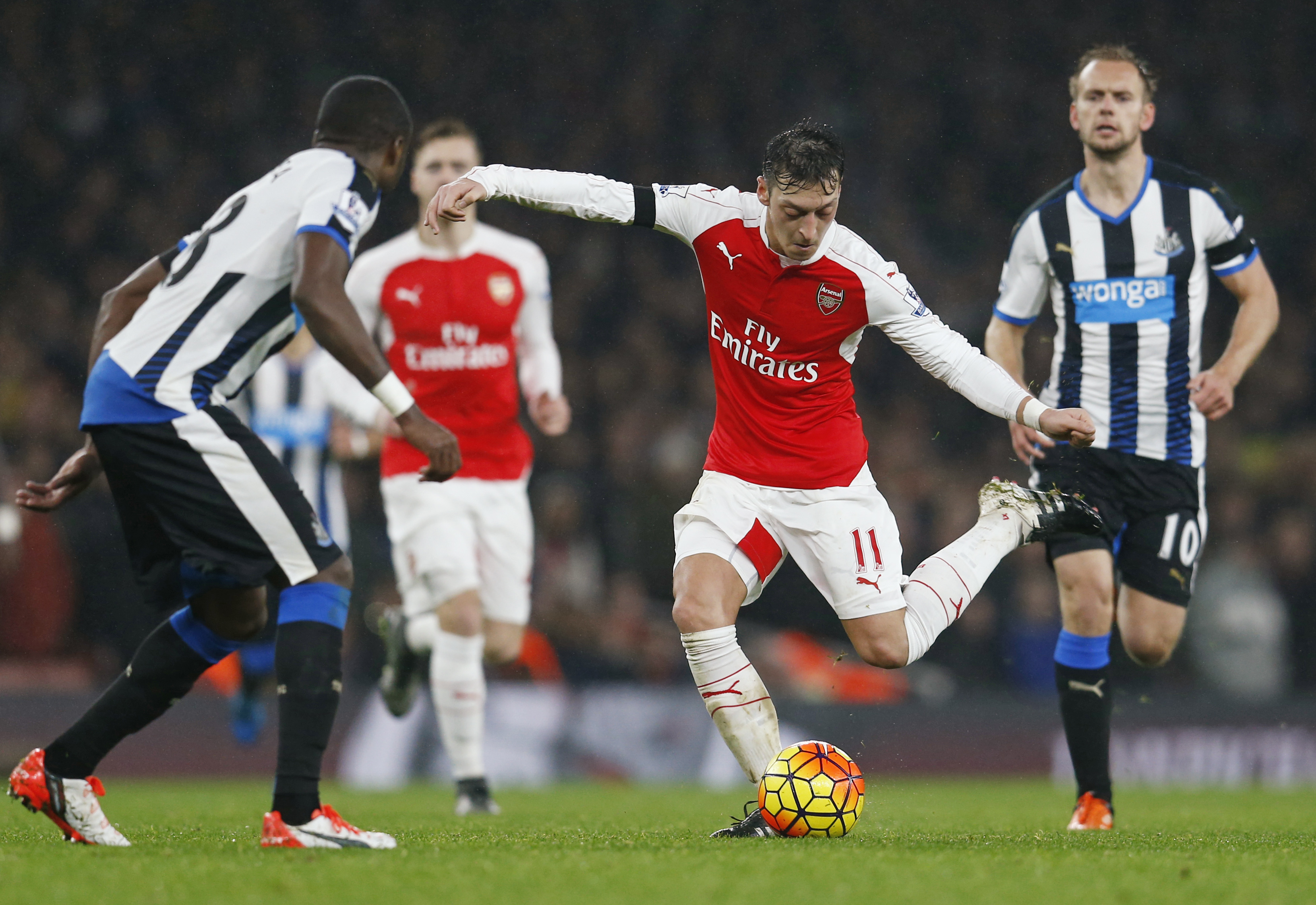 Arsenal's Mesut Ozil in action during Barclays Premier League game against Newcastle United at Emirates Stadium on Saturday, January 2, 2016. Photo: Reuters