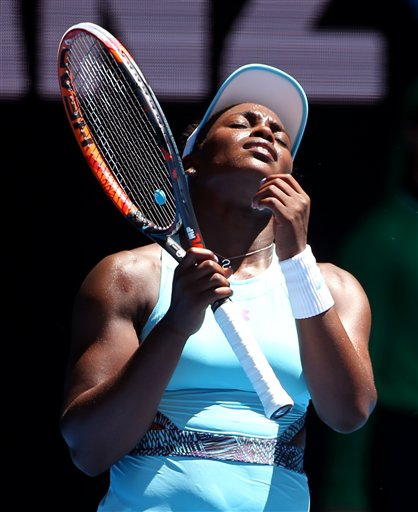 Sloane Stephens of the United States reacts during her first round loss to Wang Qiang of China during their first round match at the Australian Open tennis championships in Melbourne, Australia, Monday, Jan. 18, 2016. Photo: AP
