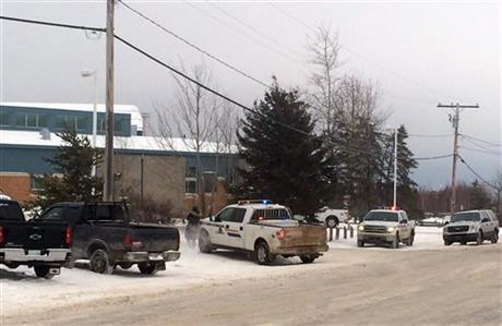 The outside of La Loche Community School is shown on Friday Jan. 22, 2016. Prime Minister Justin Trudeau said the shootings occurred at a high school and another location but did not say where else. School shootings are rare in Canada.  Photo: AP