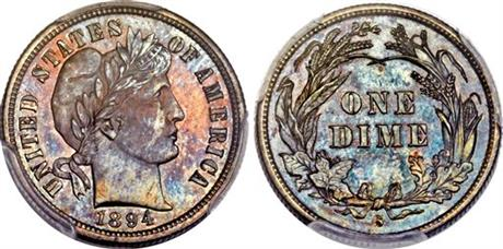 This Nov. 10, 2015, photo combination provided by Heritage Auctions, shows the front and back of a rare 1894 dime that will be put up for auction Thursday Jan. 7, 2016 in Tampa, Photo: AP