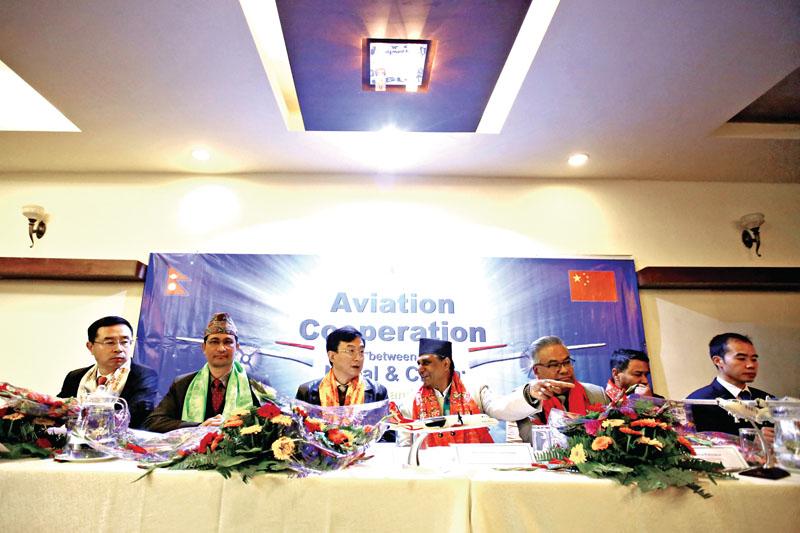 (From left) Vice President of AVIC International Holding Corporation Xu Bo,  Director General nof CAAN Sanjiv Gautam, Ambassador of China to Nepal Wu Chuntai, Tourism Minister Ananda Pokhrel and Managing Director of NAC Sugat Ratna Kansakar, during a programme, in nKathmandu, on Wednesday. Photo: THT