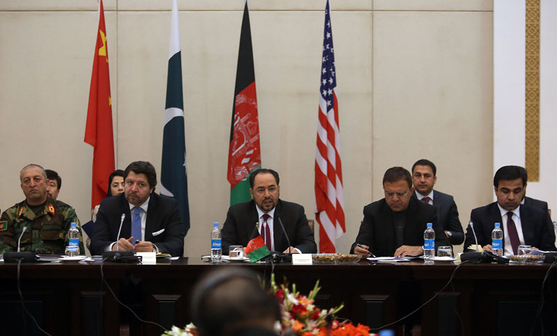 Afghan Foreign Minister, Salahuddin Rabbani (centre), starts the meeting to discus a road map for ending the war with the Taliban at the Presidential Palace in Kabul, Afghanistan, on Monday, January 18, 2016. Photo: AP