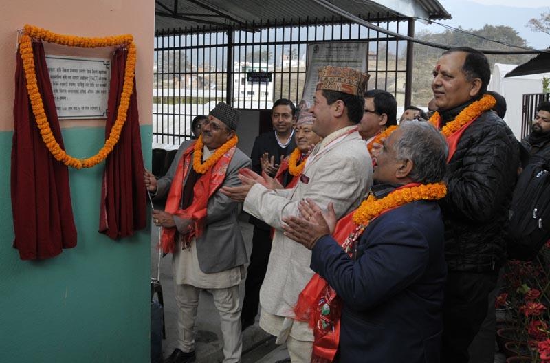 Agriculture Secretary Uttam Kumar Bhattarai inaugurates a vegetable farming project in Tokha of Kathmandu, on Sunday, January 24, 2016. Photo: PACT