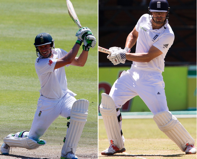 South African captain AB de Villiers(left) and his English counterpart Alastair Cook bat during the ongoing test match in South Africa. Photos: Reuters