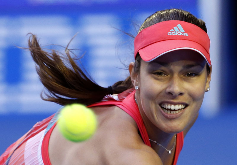 Ana Ivanovic of Serbia makes a backhand return to Madison Keys of the United States  during their third round match at the Australian Open tennis championships in Melbourne, Australia, on Saturday, January 23, 2016. Photo: AP