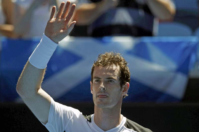 Britain's Andy Murray celebrates after winning his first round match against Germany's Alexander Zverev at the Australian Open tennis tournament at Melbourne Park, Australia, on January 19, 2016. Photo: Reuters