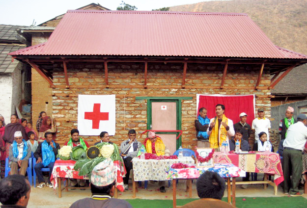 A quake resistant house built by Nepal Red Cross Society Sindhuli branch at Sitalpati VDC, in Sindhuli, on Thursday, January 7, 2016. Photo: THT