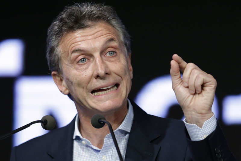 FILE - Argentina's President Mauricio Macri speaks during a meeting with the Argentine Industrial Union in Buenos Aires, Argentina on December 14, 2015. Photo: AP