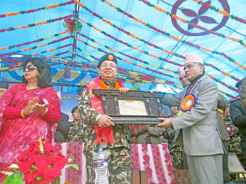 Nepal Army Chief Rajendra Chettri being felicitated at a function in his home district Tanahun on Sunday, January 17, 2016. Photo: Madan Wagle