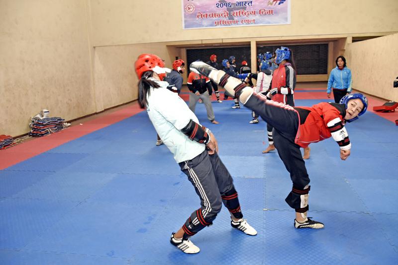 Ayasha Shakya kicks during training, on Monday, January 18, 2016. Photo: THT