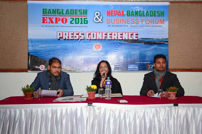 Bangladeshi Ambassador Mashfee Binte Shams addressing a programme, in Kathmandu, on Tuesday. Photo: THT