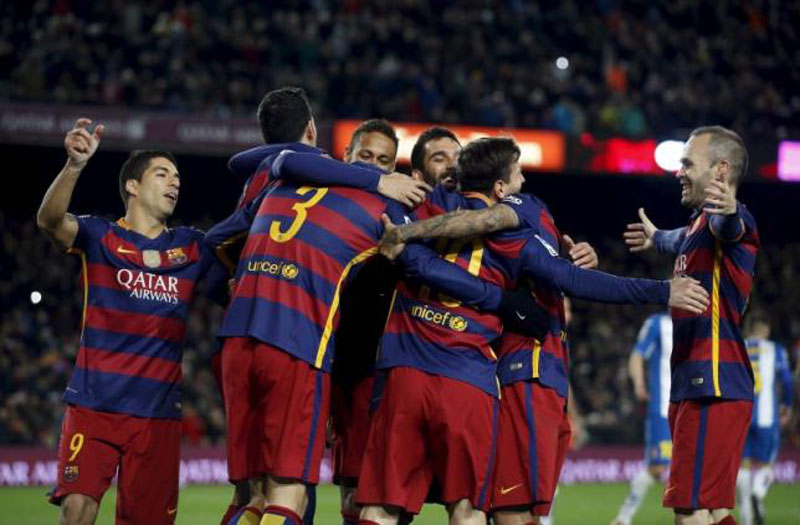 Barcelona's players celebrate a goal against Espanyol during their Spain Kings's Cup at Camp Nou Stadium on Wednesday, January 06, 2016 . Photo: Reuters