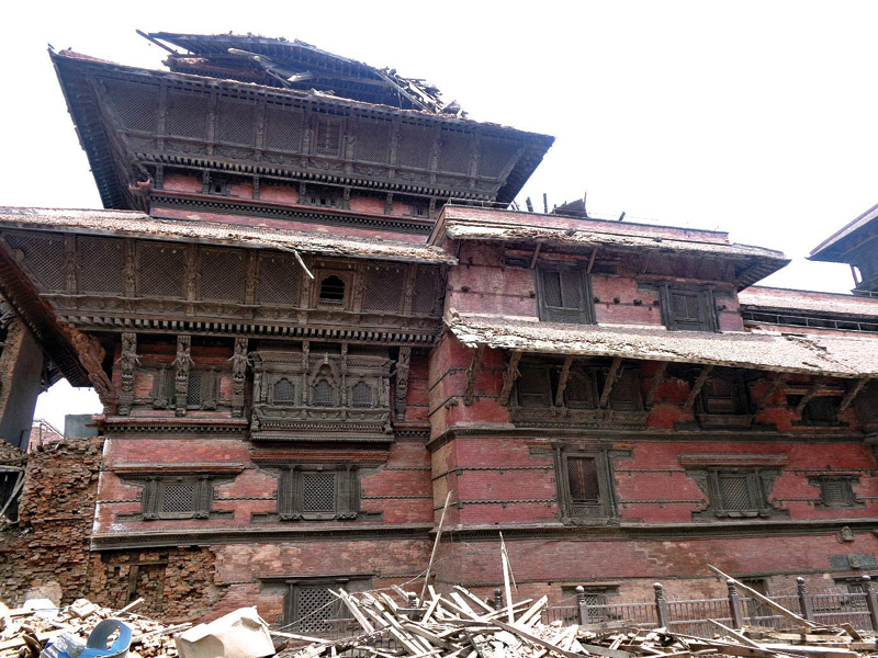 Reconstruction works basantapur durbar damages by earthquake