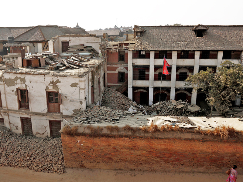 The old building of Bhaktapur Municipality Office aftermath of April 25 earthquake on Thursday, January 7, 2016. Locals have been facing difficulties as the damaged building has not be demolished yet. Photo: RSS