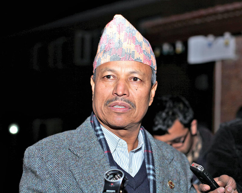 Bhim Rawal CPN-UML senior leader and a member of Task Force speaks to media after a meeting chair by Prime Minister Sushil Koirala on Thursday evening held at PM's Official Residence Baluwatar which formed a Task Force to resolve issues related to new Constitution. Photo: RSS