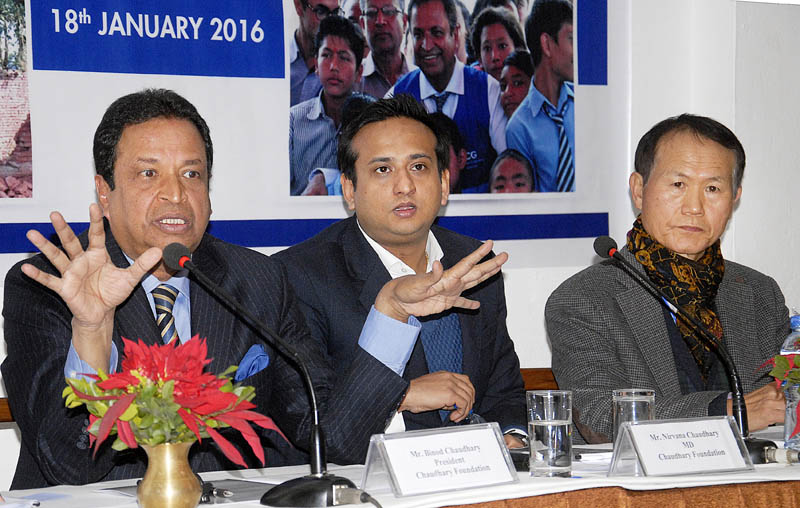 Binod Chaudhary (second from left), president of Chaudhary Group, addressing a press nbriefing, in Kathmandu, on Monday. Photo: THT