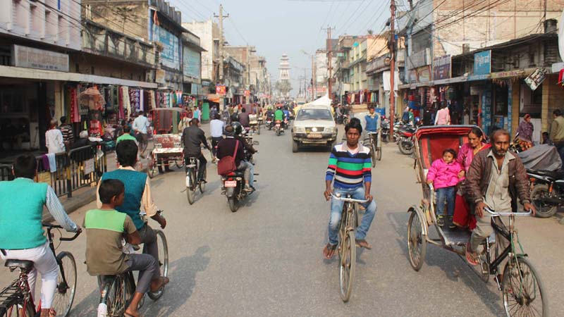 Locals head to their destinations along a road in Birgunj of Parsa district on Friday, January 15, 2016. After the five-month-long Tarai unrest, life in the city is returning to normalcy. Photo: Ram Sarraf