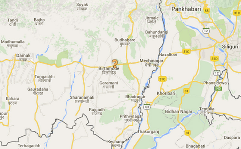 Birtamod of Jhapa district. Source: Google Maps
