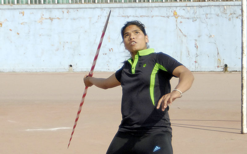 Chandrakala Lamgade performs during a training session at the Dasharath Stadium. Photo: Naresh ShresthaTHT
