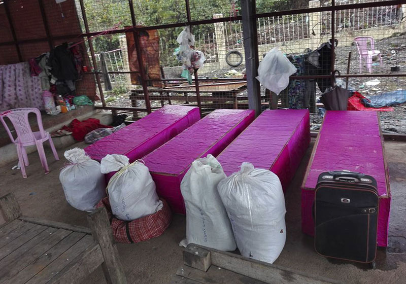 Coffins of landslide victims are kept in Hpakant hospital morgue in northern Kachin State, Myanmar, on Wednesday, January 27, 2016. Photo: AP