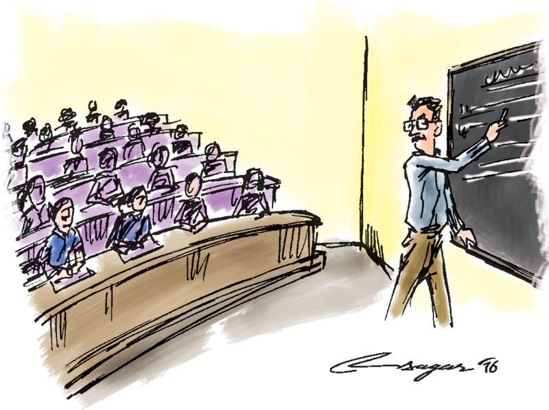 College classroom. Illustration: Ratna Sagar Shrestha