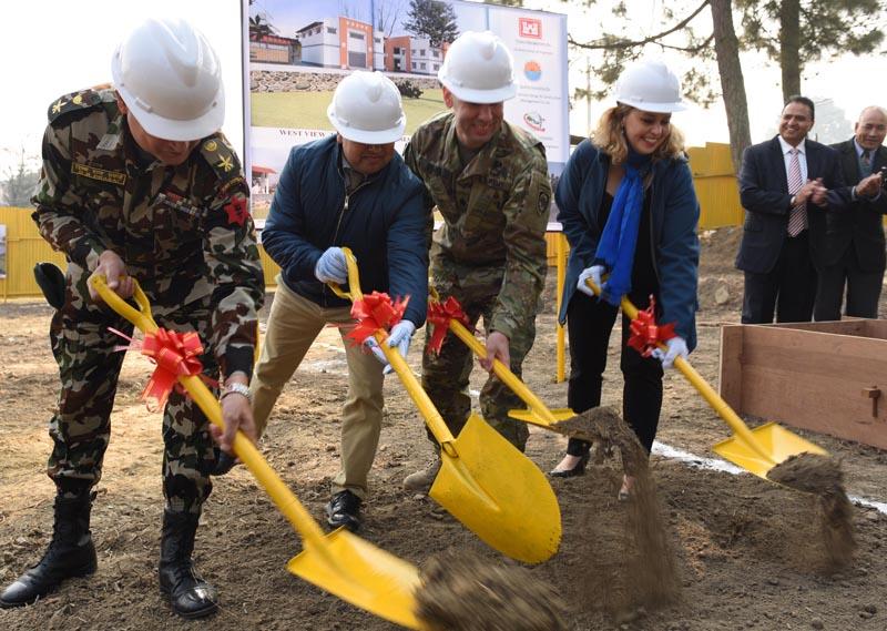 Construction of a Regional Crisis Management Centre (RCMC) begins in Chhauni of Kathmandu, on Friday, January 15, 2016. Photo: US Embassy