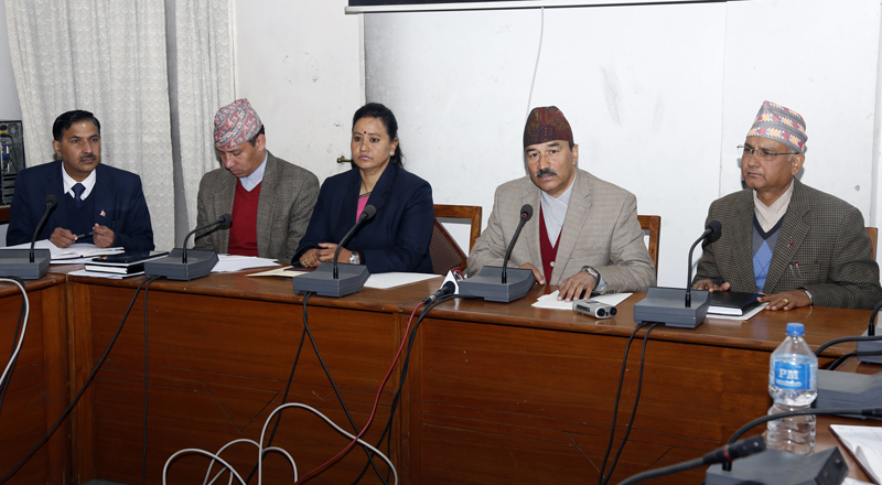 Deputy Prime Minister Kamal Thapa announces to launch the People's Participation-based Solar Street Light Programme to install solar lights in all public places, in Kathmandu, on Sunday, January 31, 2016. Photo: RSS