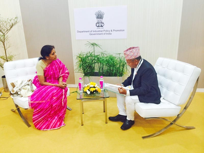 Minister for Commerce Deepak Bohara during a meeting with Indian Minister of State for nCommerce and Industry, Nirmala Sitharaman, in Visakhapatnam, on Sunday. Photo: THT