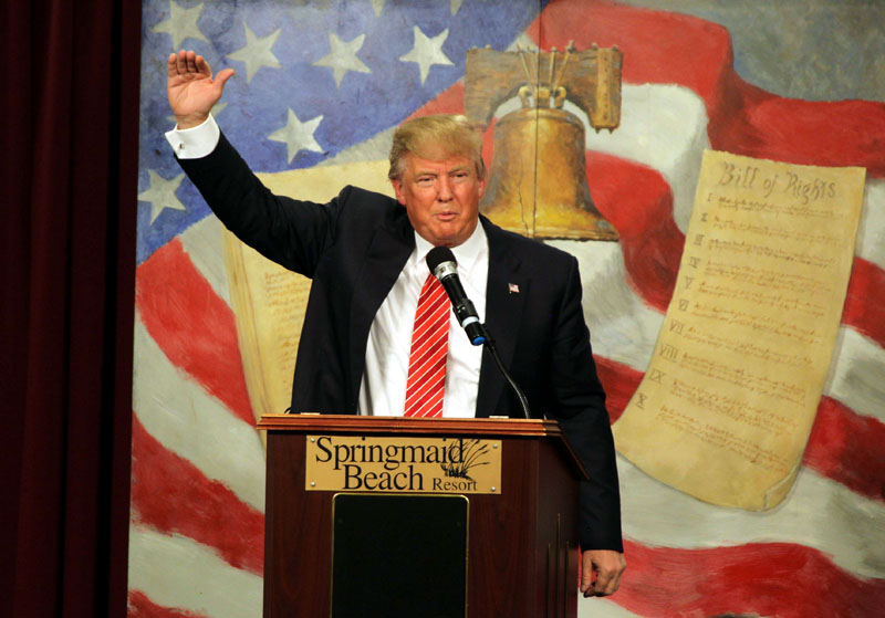 Republican presidential candidate Donald Trump speaks at the South Carolina Tea Party Convention, on Saturday, January 16, 2016, at the Springmaid Beach Resort in Myrtle Beach, S.C. Photo: AP