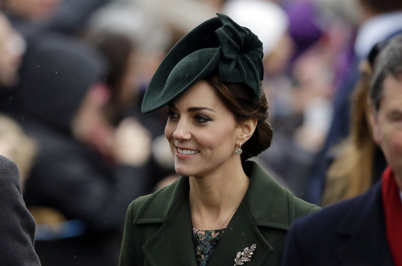 FILE - In this Friday, December 25, 2015 file photo, Kate the Duchess of Cambridge arrives to attend their traditional Christmas Day church service, at St. Mary Magdalene Church in Sandringham, England. Photo: AP