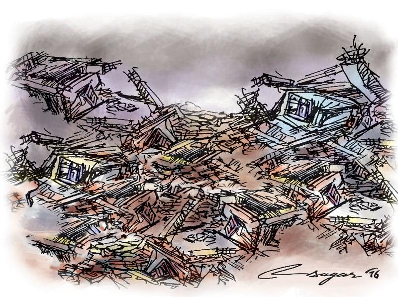 Earthquake and Disaster. Illustration: Ratna Sagar Shrestha/THT