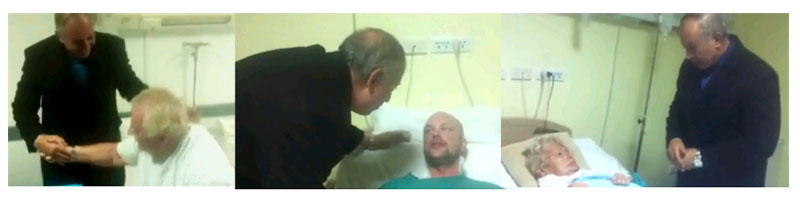 The combo of video image shows Ahmed Abdullah, Governor of Egypt's Red Sea Governorate visiting Wilhelm Weisslein ( from left to right), Sammie Olovssona and Renata Weisslein, the tourists wounded in a knife attack on Friday at an Egyptian Red Sea resort on Saturday, January 9, 2015 in Hurghada, Egypt.  Photo: AP