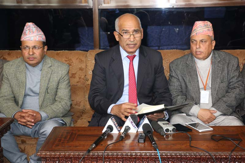 Finance Minister Bishnu Prasad Paudel interacting with the mediapersons at the Tribhuvan International Airport (TIA) upon his return after a visit to China, on Tuesday, January 19, 2016. Photo: RSS