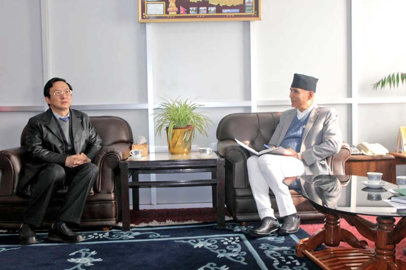 Finance Minister Bishnu Prasad Paudel in a meeting with Chinese Ambassador to Nepal Wu Chuntai, in Kathmandu, on Tuesday. During the meeting, Minister Paudel discussed his upcoming China visit for the inaugural meeting of AIIB and Prime Minister KP Sharma Oliu2019s visit to the northern neighbour in the near future. Courtesy: MoF