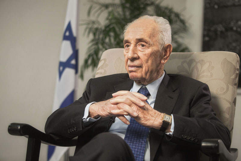 FILE -  Former Israeli President Shimon Peres speaks during an interview with The Associated Press in Jerusalem on  Monday, November 2, 2015. Photo: AP