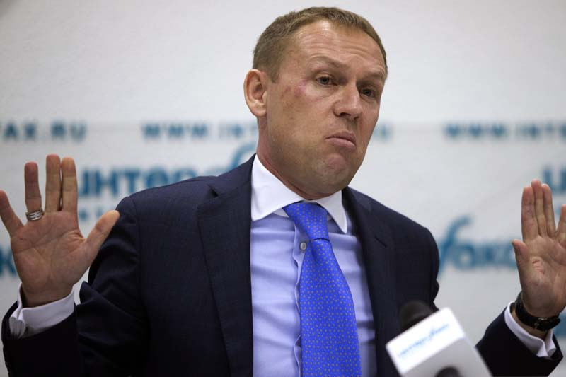 Former KGB agent Andrei Lugovoy speaks at a news conference about the 2006 poisoning in London of former Russian agent turned Kremlin critic Alexander Litvinenko, in Moscow, Russia on Tuesday, March 12, 2013. Photo: AP/ File