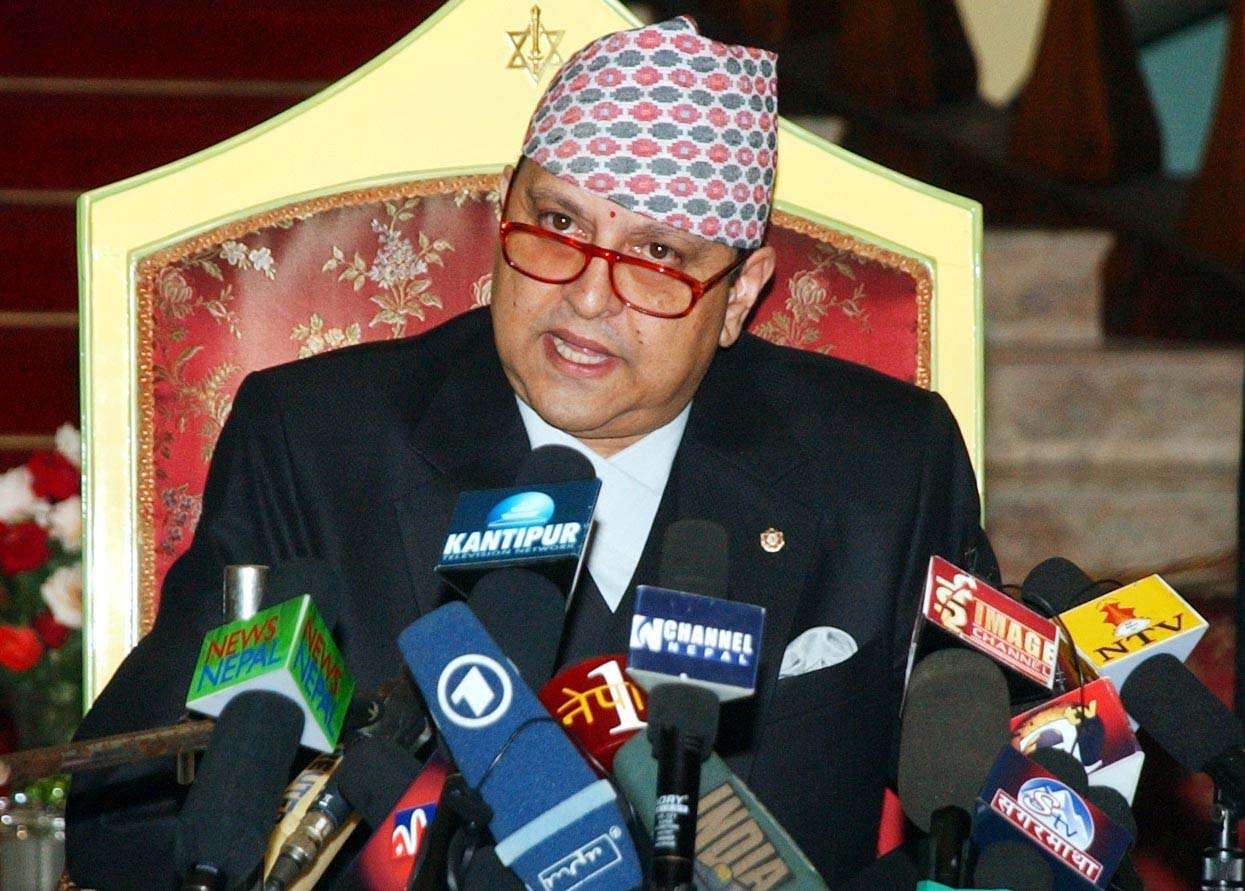 Former King Gyanendra Shah speaking at a press conference before leaving the Narayanhiti Palace, 14 days after the nation was declared Republic, on June 11, 2008. Photo: THT/ File
